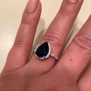 Pear Shaped CZ Sapphire CZ Diamond Ring